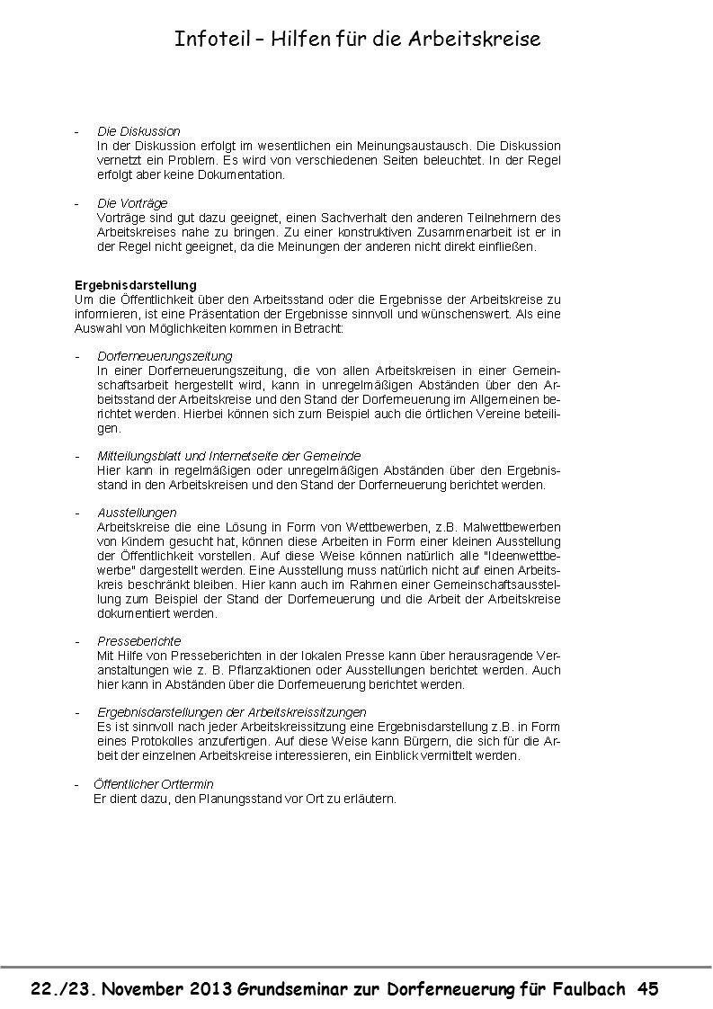 22./23. November 2013 Grundseminar zur Dorferneuerung für Faulbach 45 Infoteil – Hilfen für die Arbeitskreise