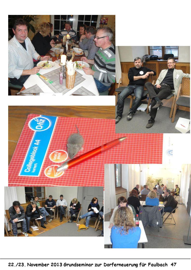 22./23. November 2013 Grundseminar zur Dorferneuerung für Faulbach 47