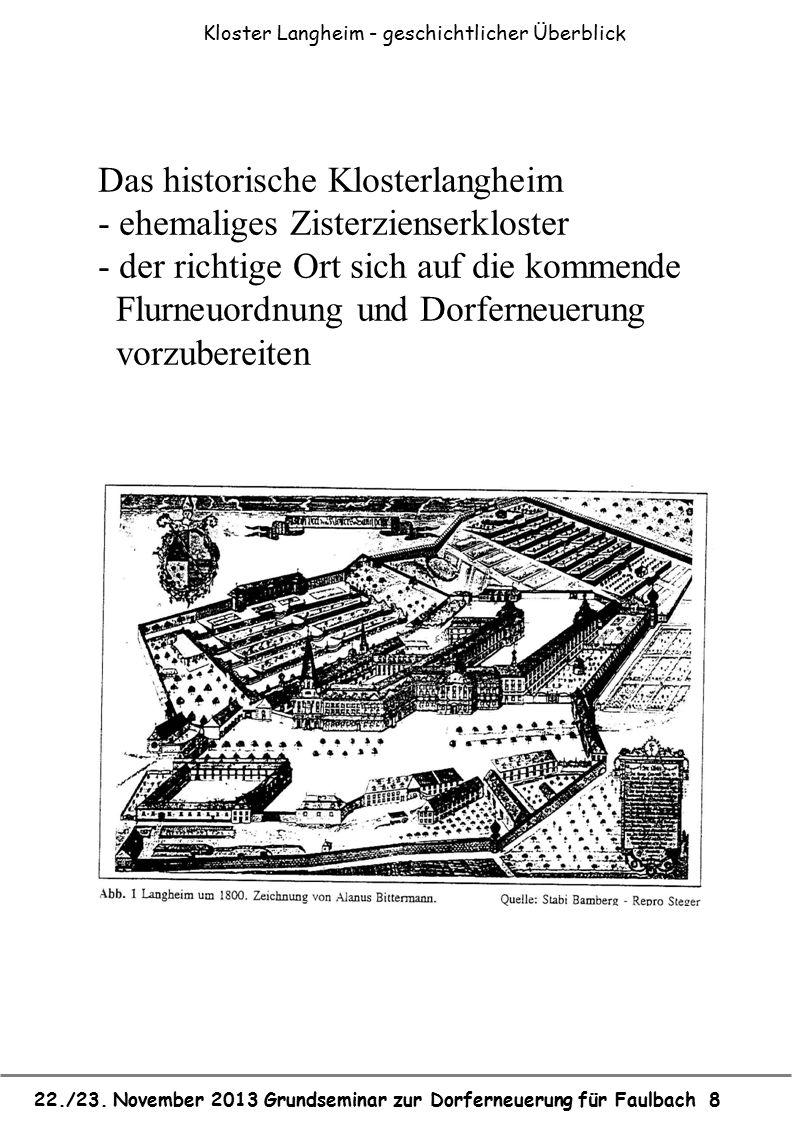 22./23. November 2013 Grundseminar zur Dorferneuerung für Faulbach 8 Das historische Klosterlangheim - ehemaliges Zisterzienserkloster - der richtige