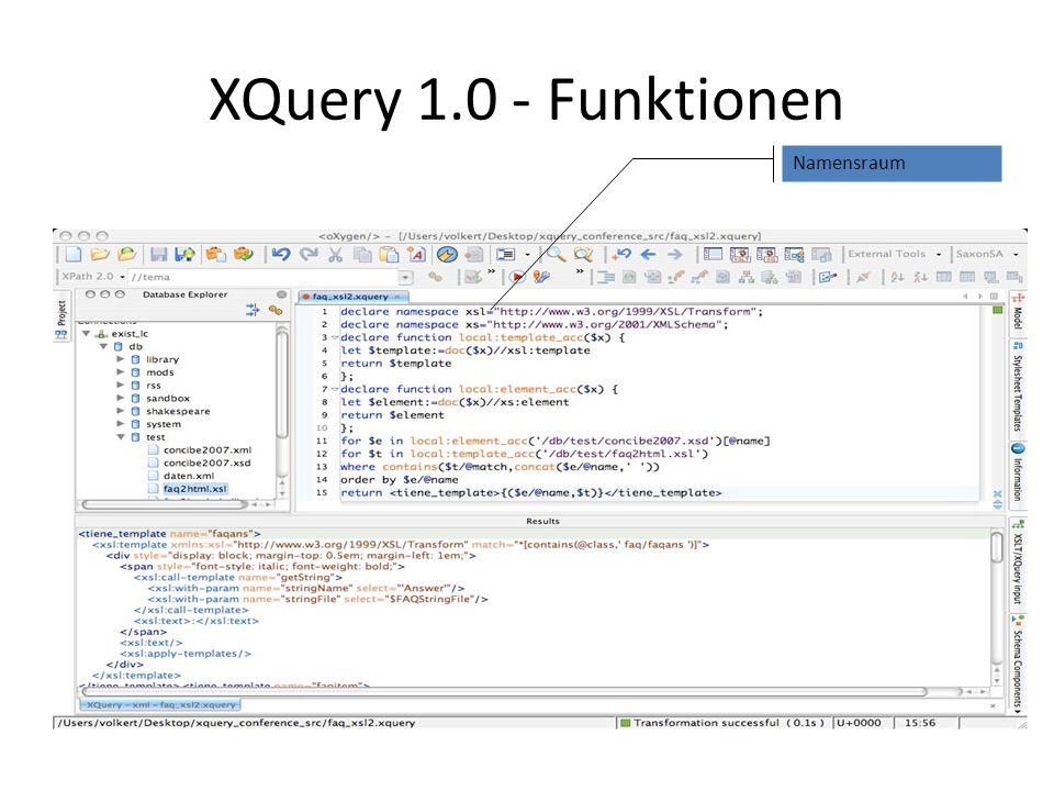 XQuery 1.0 - F L W O R LX= Zuweisung an X (Variable) – Sequenzen gemäß XPath 2.0 – Variable werden nur einmal gebunden XPath 2.0 entspricht XQuery der Form F R W = Einschränkung des aktuellen Kreuzproduktes von Tupeln von XPath-Sequenzen O = Sortieren der Tupel R = Erzeugen von Sequenzen von XML-Elementen und Attribute