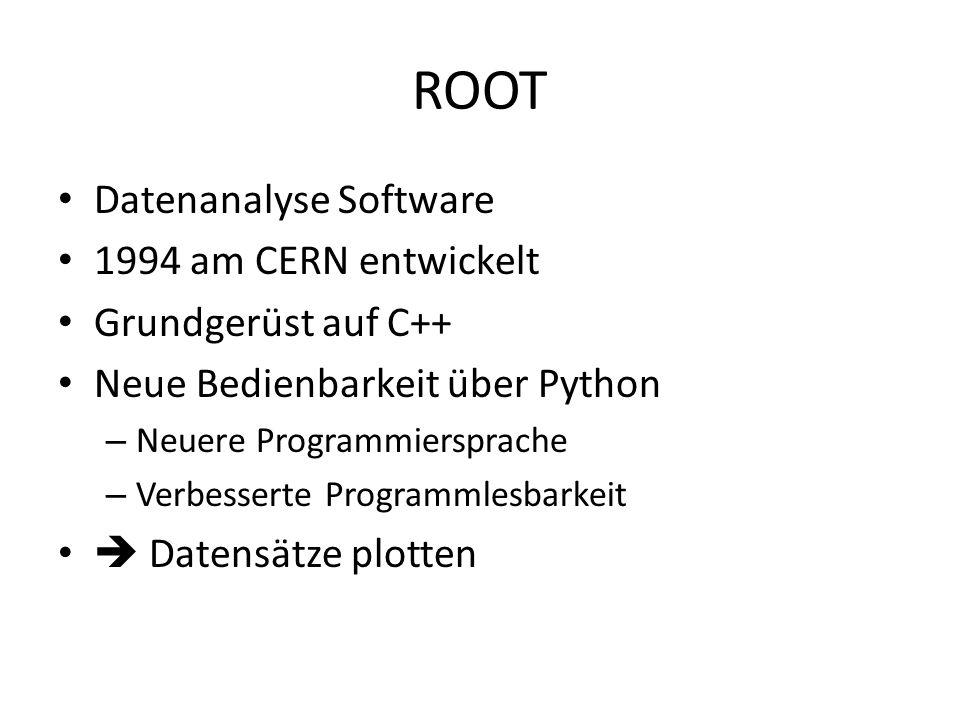 ROOT Datenanalyse Software 1994 am CERN entwickelt Grundgerüst auf C++ Neue Bedienbarkeit über Python – Neuere Programmiersprache – Verbesserte Programmlesbarkeit  Datensätze plotten