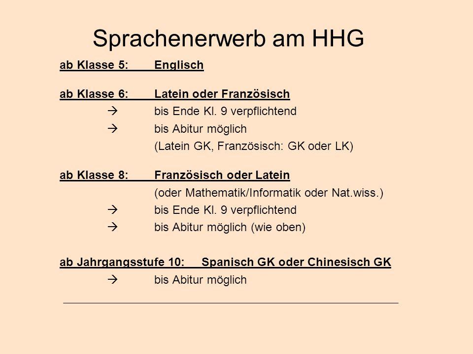 Sprachenerwerb am HHG ab Klasse 5: Englisch ab Klasse 6:Latein oder Französisch  bis Ende Kl. 9 verpflichtend  bis Abitur möglich (Latein GK, Franzö
