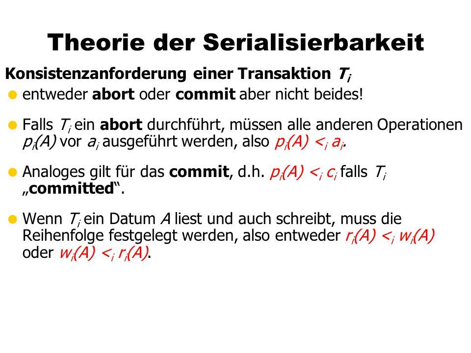 Theorie der Serialisierbarkeit Konsistenzanforderung einer Transaktion T i  entweder abort oder commit aber nicht beides.