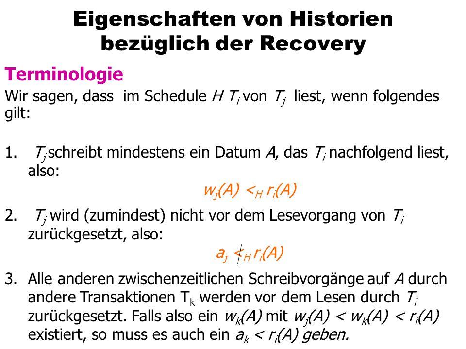 Eigenschaften von Historien bezüglich der Recovery Terminologie Wir sagen, dass im Schedule H T i von T j liest, wenn folgendes gilt: 1.