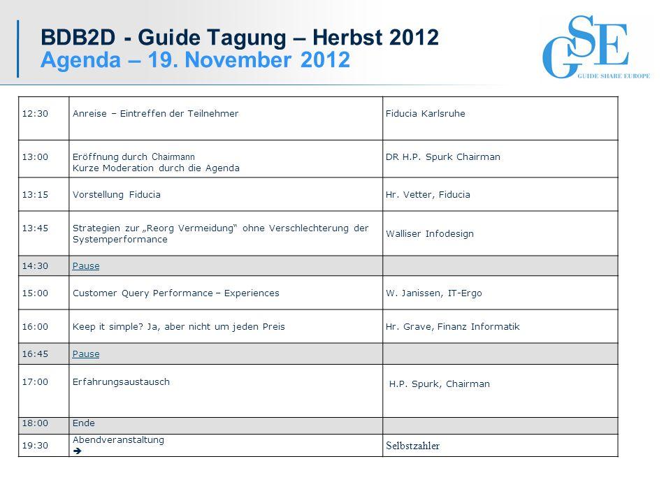 BDB2D - Guide Tagung – Herbst 2012 Agenda – 19.