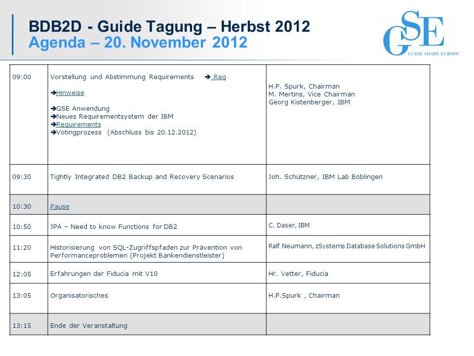 BDB2D - Guide Tagung – Herbst 2012 Agenda – 20.