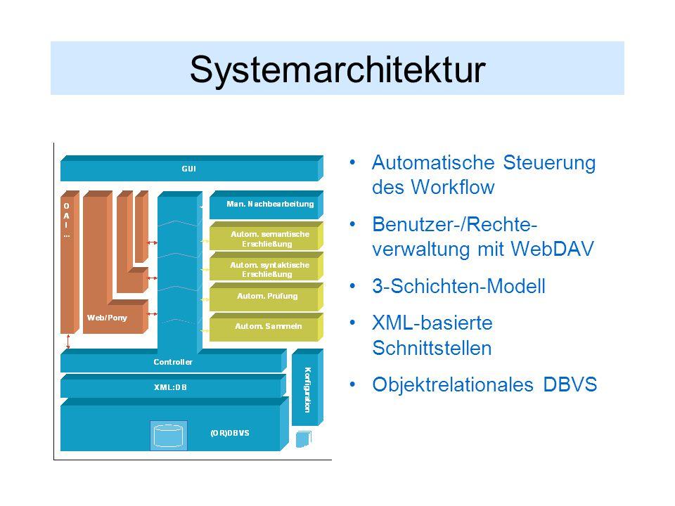 Systemarchitektur Automatische Steuerung des Workflow Benutzer-/Rechte- verwaltung mit WebDAV 3-Schichten-Modell XML-basierte Schnittstellen Objektrelationales DBVS