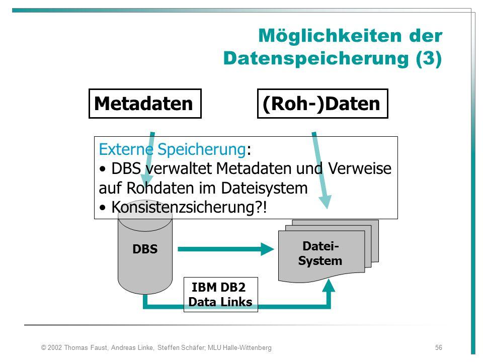 © 2002 Thomas Faust, Andreas Linke, Steffen Schäfer; MLU Halle-Wittenberg56 Möglichkeiten der Datenspeicherung (3) Metadaten(Roh-)Daten DBS Datei- System Externe Speicherung: DBS verwaltet Metadaten und Verweise auf Rohdaten im Dateisystem Konsistenzsicherung?.