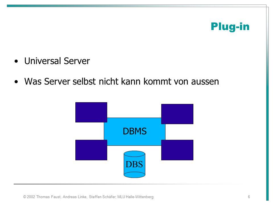 © 2002 Thomas Faust, Andreas Linke, Steffen Schäfer; MLU Halle-Wittenberg6 Plug-in Universal Server Was Server selbst nicht kann kommt von aussen DBMS DBS