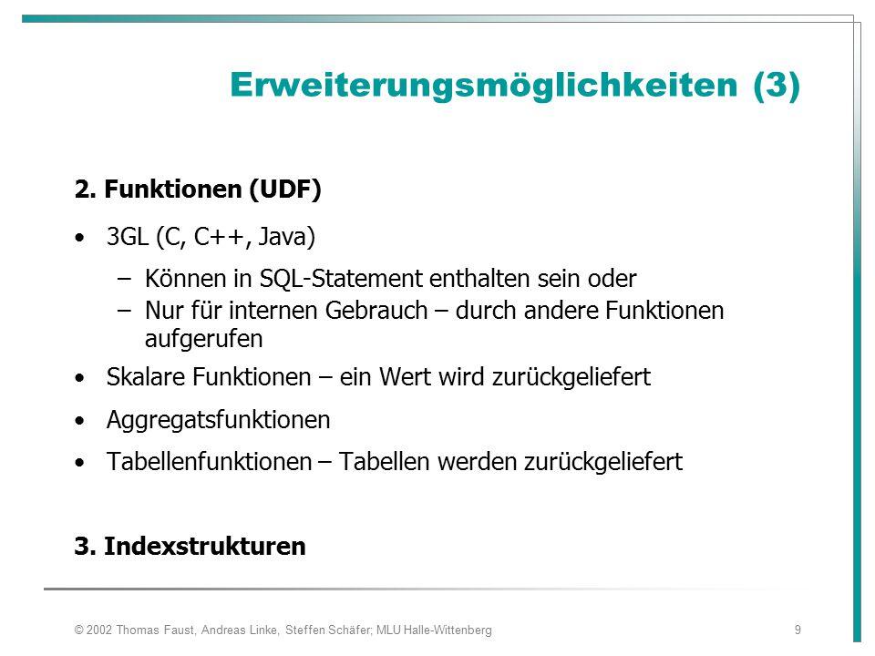 © 2002 Thomas Faust, Andreas Linke, Steffen Schäfer; MLU Halle-Wittenberg10 Database-Middleware Integration externer Datenquellen –API mit unterschiedlicher Mächtigkeit –Verschiedene Datenmodelle Lösung durch Wrapper A N W E N D U N G E N DBS Middleware DBS