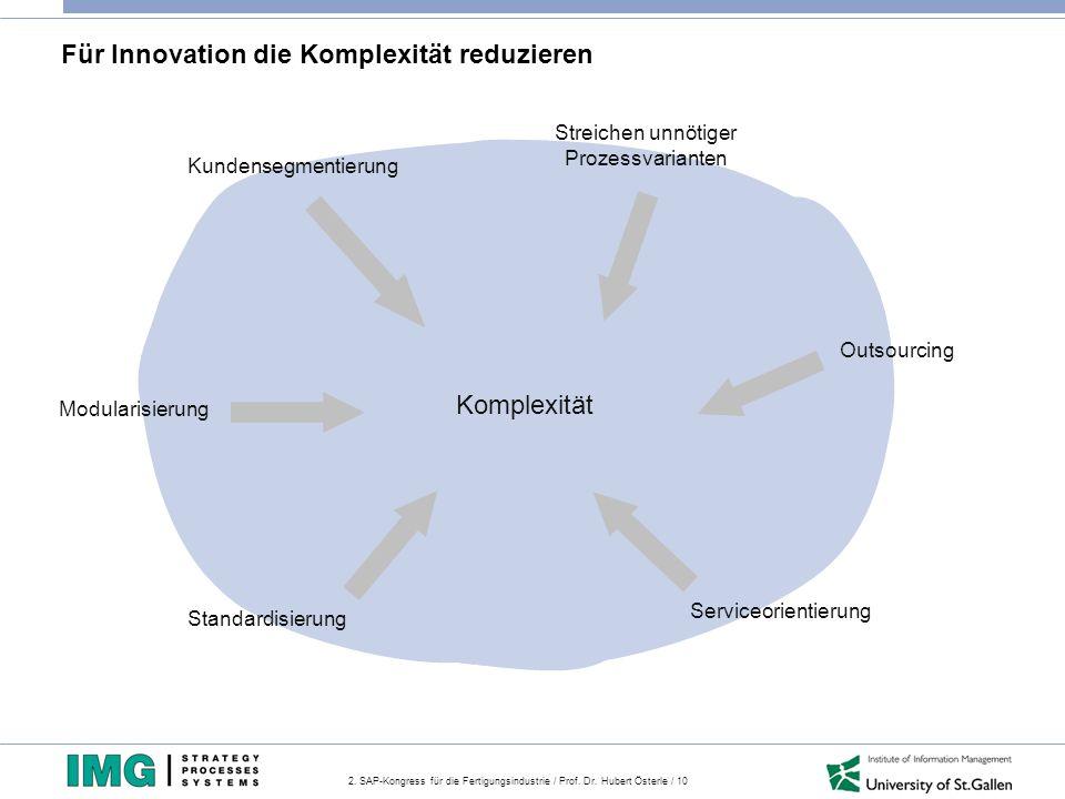 2. SAP-Kongress für die Fertigungsindustrie / Prof. Dr. Hubert Österle / 10 Komplexität Kundensegmentierung Streichen unnötiger Prozessvarianten Outso