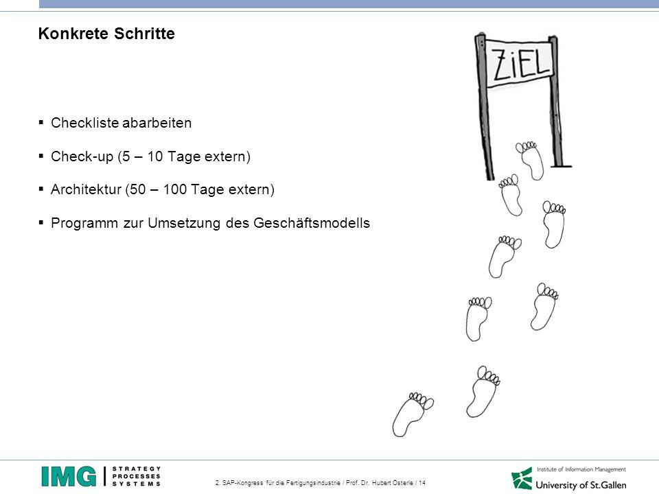 2. SAP-Kongress für die Fertigungsindustrie / Prof. Dr. Hubert Österle / 14 Konkrete Schritte  Checkliste abarbeiten  Check-up (5 – 10 Tage extern)