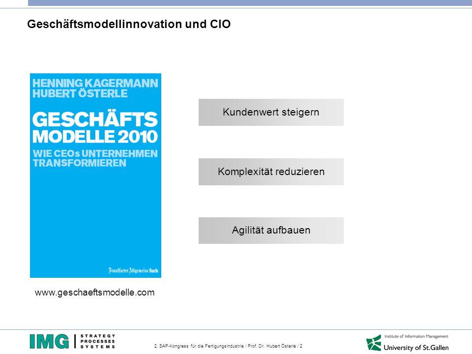 2. SAP-Kongress für die Fertigungsindustrie / Prof. Dr. Hubert Österle / 2 Geschäftsmodellinnovation und CIO www.geschaeftsmodelle.com Kundenwert stei
