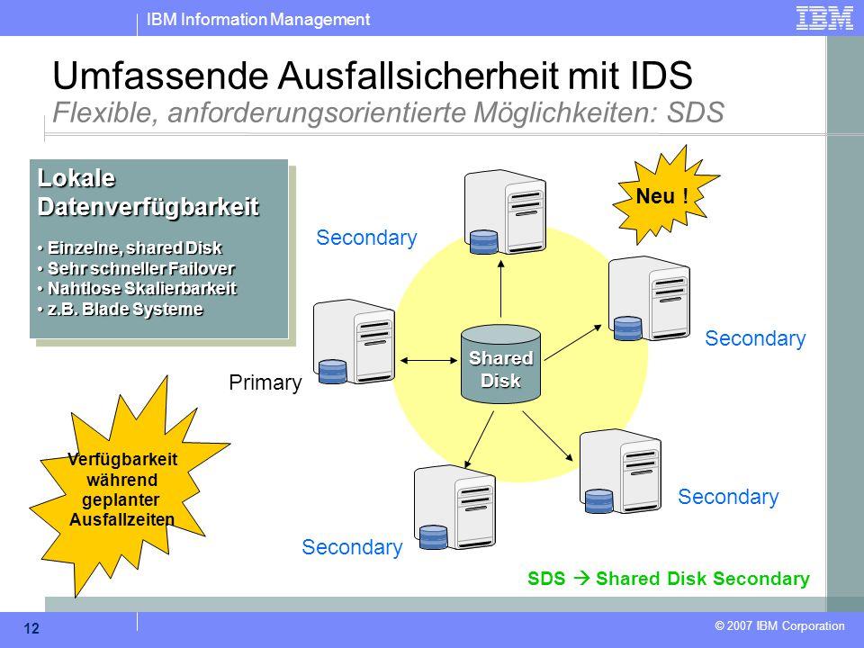 IBM Information Management © 2007 IBM Corporation 12 SharedDisk Primary Secondary Umfassende Ausfallsicherheit mit IDS Flexible, anforderungsorientier