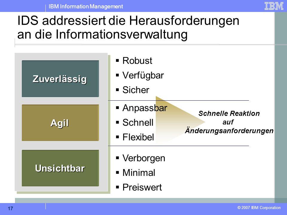 IBM Information Management © 2007 IBM Corporation 17 Schnelle Reaktion auf Änderungsanforderungen IDS addressiert die Herausforderungen an die Informa