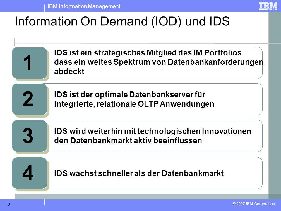 IBM Information Management © 2007 IBM Corporation 2 Information On Demand (IOD) und IDS 1 IDS ist ein strategisches Mitglied des IM Portfolios dass ei