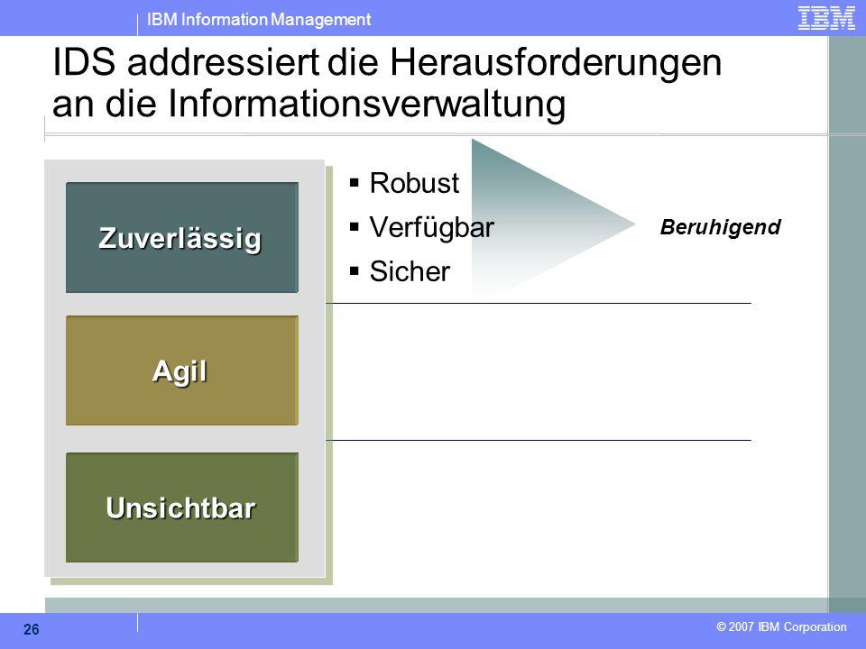 IBM Information Management © 2007 IBM Corporation 26 IDS addressiert die Herausforderungen an die Informationsverwaltung  Robust  Verfügbar  Sicher