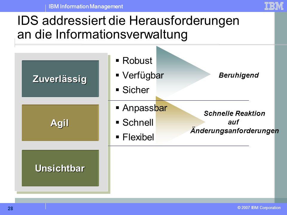 IBM Information Management © 2007 IBM Corporation 28 IDS addressiert die Herausforderungen an die Informationsverwaltung  Robust  Verfügbar  Sicher