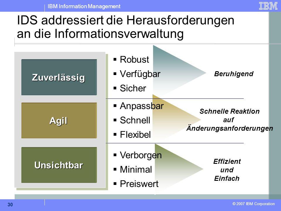 IBM Information Management © 2007 IBM Corporation 30 IDS addressiert die Herausforderungen an die Informationsverwaltung  Robust  Verfügbar  Sicher
