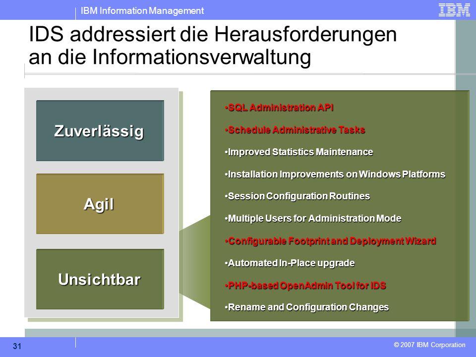 IBM Information Management © 2007 IBM Corporation 31 IDS addressiert die Herausforderungen an die Informationsverwaltung Zuverlässig Agil Unsichtbar S