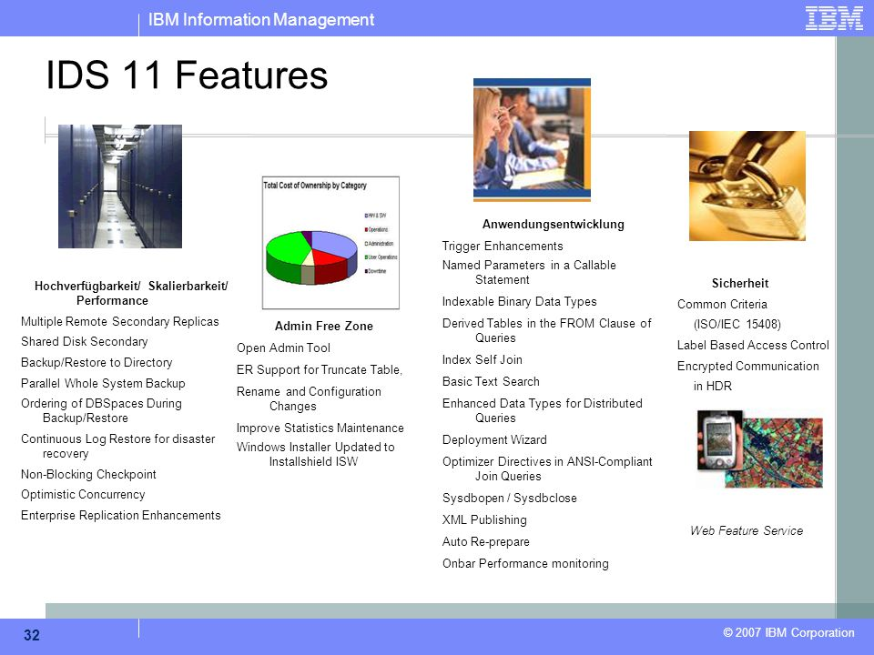 IBM Information Management © 2007 IBM Corporation 32 IDS 11 Features Hochverfügbarkeit/ Skalierbarkeit/ Performance Multiple Remote Secondary Replicas Shared Disk Secondary Backup/Restore to Directory Parallel Whole System Backup Ordering of DBSpaces During Backup/Restore Continuous Log Restore for disaster recovery Non-Blocking Checkpoint Optimistic Concurrency Enterprise Replication Enhancements Admin Free Zone Open Admin Tool ER Support for Truncate Table, Rename and Configuration Changes Improve Statistics Maintenance Windows Installer Updated to Installshield ISW Anwendungsentwicklung Trigger Enhancements Named Parameters in a Callable Statement Indexable Binary Data Types Derived Tables in the FROM Clause of Queries Index Self Join Basic Text Search Enhanced Data Types for Distributed Queries Deployment Wizard Optimizer Directives in ANSI-Compliant Join Queries Sysdbopen / Sysdbclose XML Publishing Auto Re-prepare Onbar Performance monitoring Sicherheit Common Criteria (ISO/IEC 15408) Label Based Access Control Encrypted Communication in HDR Web Feature Service
