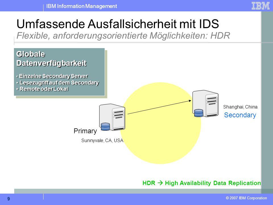 IBM Information Management © 2007 IBM Corporation 9 Sunnyvale, CA, USA Shanghai, China Primary Secondary Umfassende Ausfallsicherheit mit IDS Flexible
