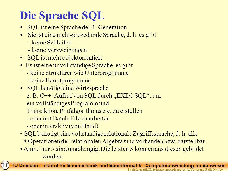 TU Dresden - Institut für Baumechanik und Bauinformatik - Computeranwendung im Bauwesen Folie-Nr.: 10Bauinformatik II, Softwareanwendunge 1; 1. Vorles
