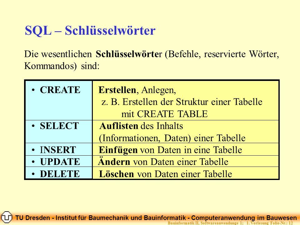 TU Dresden - Institut für Baumechanik und Bauinformatik - Computeranwendung im Bauwesen Folie-Nr.: 12Bauinformatik II, Softwareanwendunge 1; 1. Vorles