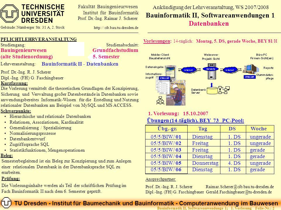 TU Dresden - Institut für Baumechanik und Bauinformatik - Computeranwendung im Bauwesen Folie-Nr.: 3Bauinformatik II, Softwareanwendunge 1; 1.