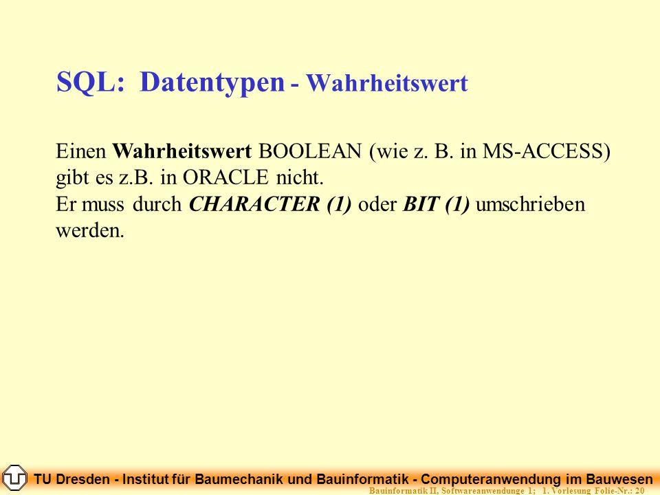 TU Dresden - Institut für Baumechanik und Bauinformatik - Computeranwendung im Bauwesen Folie-Nr.: 20Bauinformatik II, Softwareanwendunge 1; 1. Vorles