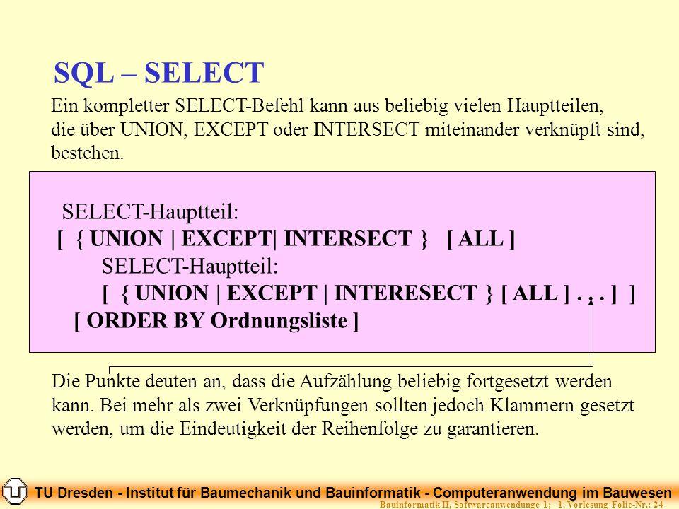 TU Dresden - Institut für Baumechanik und Bauinformatik - Computeranwendung im Bauwesen Folie-Nr.: 24Bauinformatik II, Softwareanwendunge 1; 1. Vorles