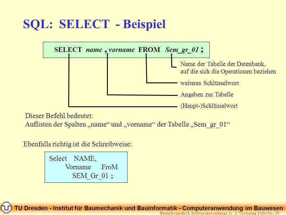 TU Dresden - Institut für Baumechanik und Bauinformatik - Computeranwendung im Bauwesen Folie-Nr.: 29Bauinformatik II, Softwareanwendunge 1; 1. Vorles