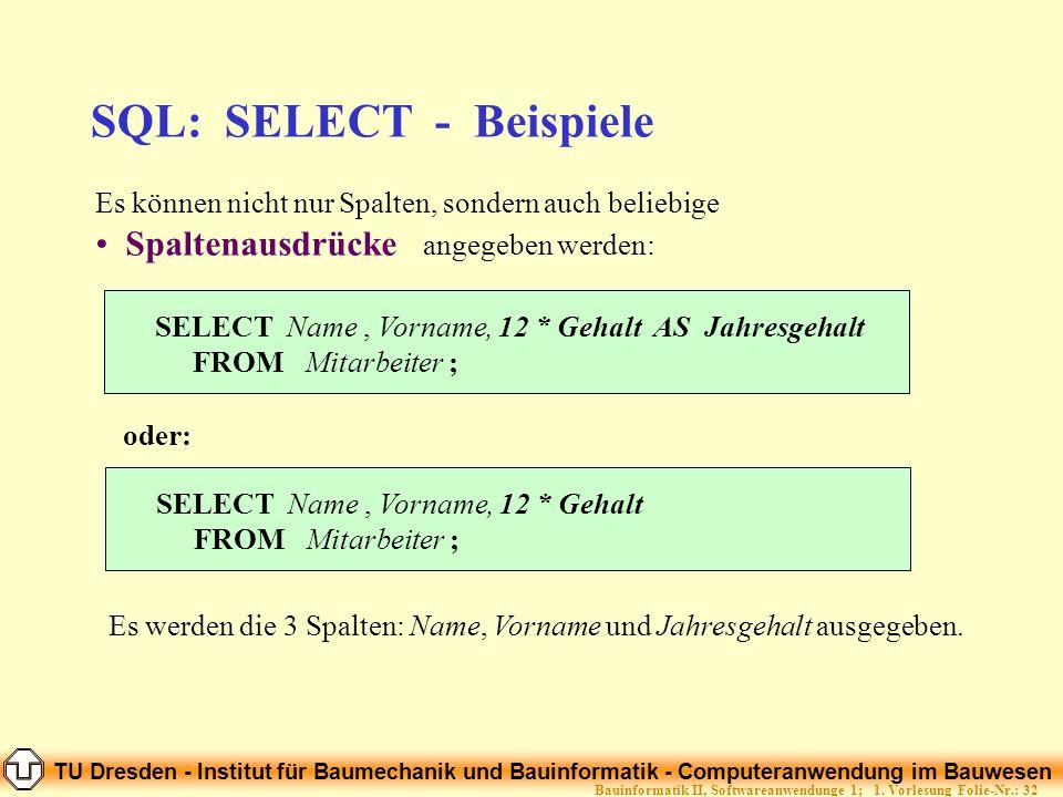 TU Dresden - Institut für Baumechanik und Bauinformatik - Computeranwendung im Bauwesen Folie-Nr.: 32Bauinformatik II, Softwareanwendunge 1; 1. Vorles