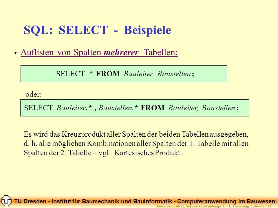 TU Dresden - Institut für Baumechanik und Bauinformatik - Computeranwendung im Bauwesen Folie-Nr.: 34Bauinformatik II, Softwareanwendunge 1; 1. Vorles