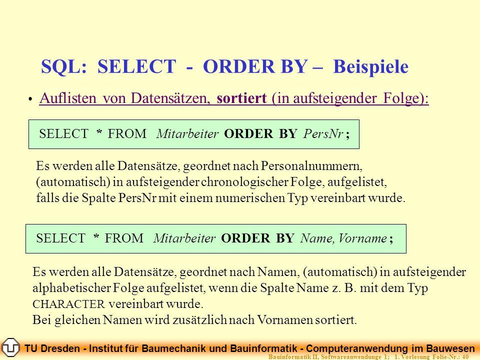 TU Dresden - Institut für Baumechanik und Bauinformatik - Computeranwendung im Bauwesen Folie-Nr.: 40Bauinformatik II, Softwareanwendunge 1; 1. Vorles