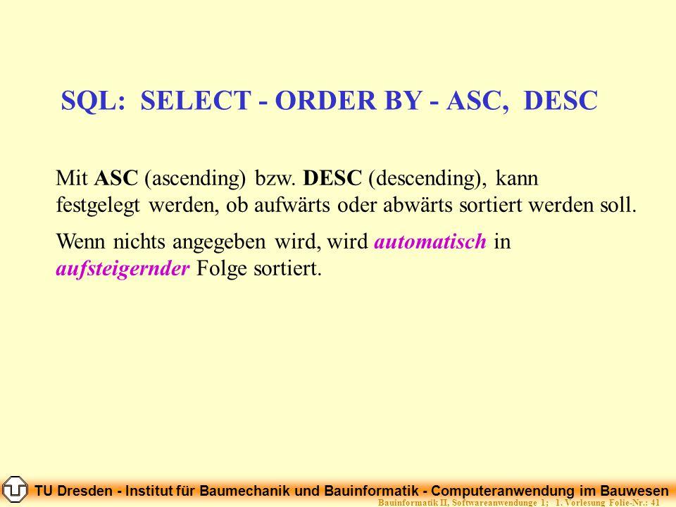 TU Dresden - Institut für Baumechanik und Bauinformatik - Computeranwendung im Bauwesen Folie-Nr.: 41Bauinformatik II, Softwareanwendunge 1; 1. Vorles