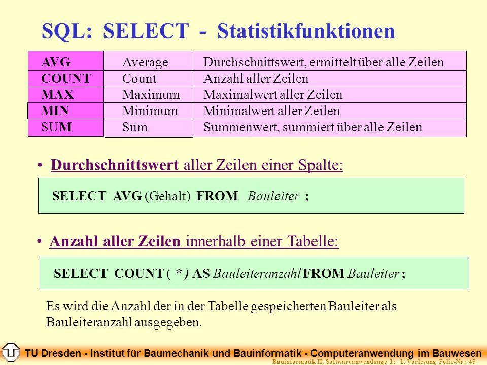 TU Dresden - Institut für Baumechanik und Bauinformatik - Computeranwendung im Bauwesen Folie-Nr.: 45Bauinformatik II, Softwareanwendunge 1; 1. Vorles