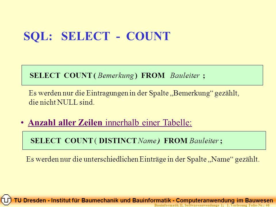 TU Dresden - Institut für Baumechanik und Bauinformatik - Computeranwendung im Bauwesen Folie-Nr.: 46Bauinformatik II, Softwareanwendunge 1; 1. Vorles