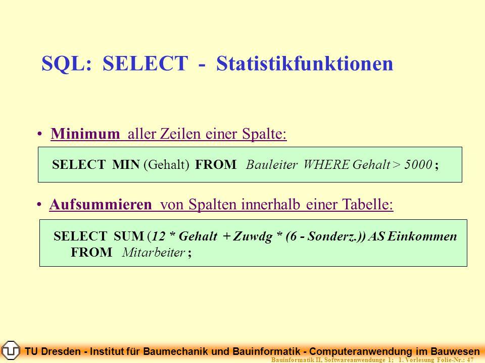 TU Dresden - Institut für Baumechanik und Bauinformatik - Computeranwendung im Bauwesen Folie-Nr.: 47Bauinformatik II, Softwareanwendunge 1; 1. Vorles
