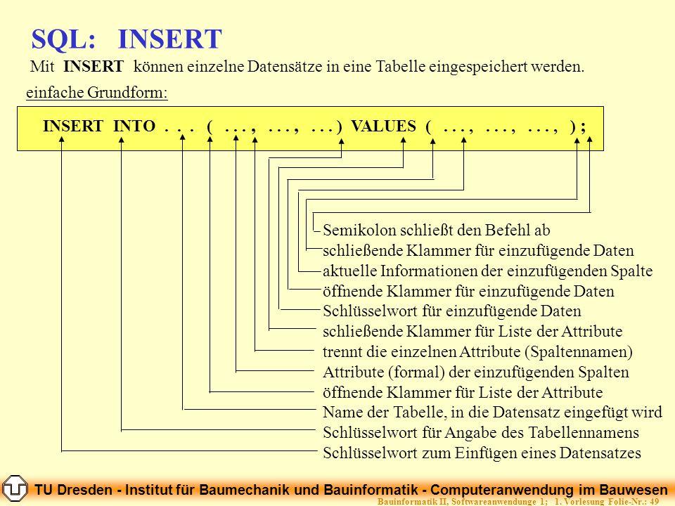 TU Dresden - Institut für Baumechanik und Bauinformatik - Computeranwendung im Bauwesen Folie-Nr.: 49Bauinformatik II, Softwareanwendunge 1; 1. Vorles