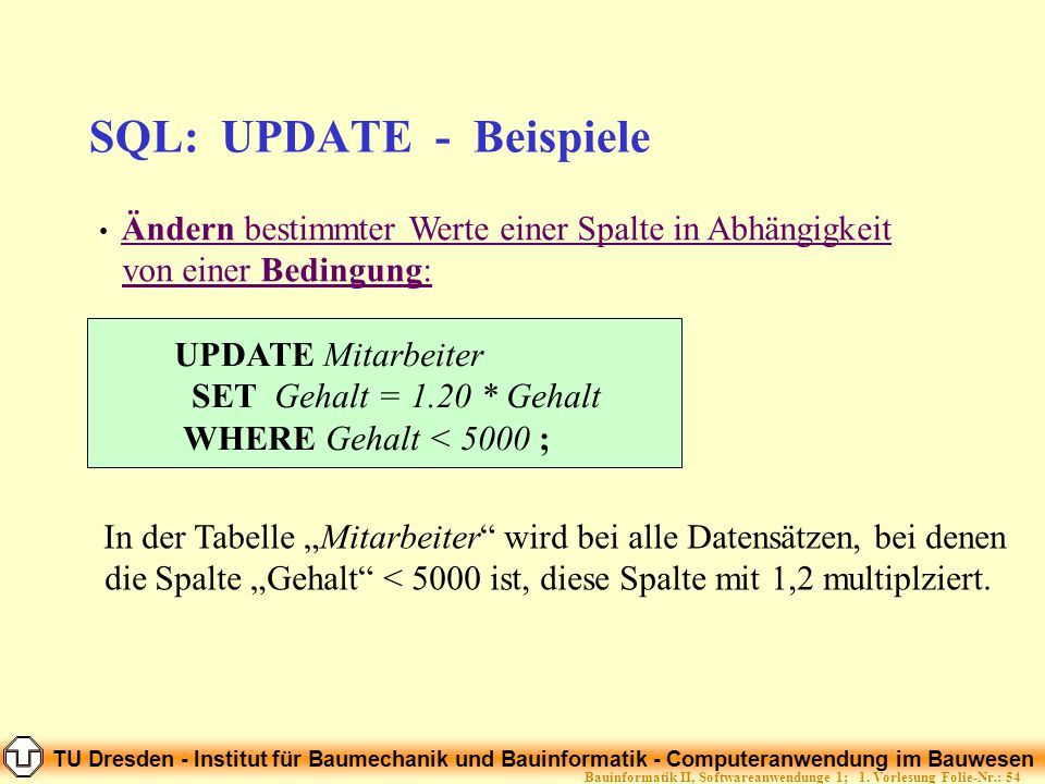 TU Dresden - Institut für Baumechanik und Bauinformatik - Computeranwendung im Bauwesen Folie-Nr.: 54Bauinformatik II, Softwareanwendunge 1; 1. Vorles