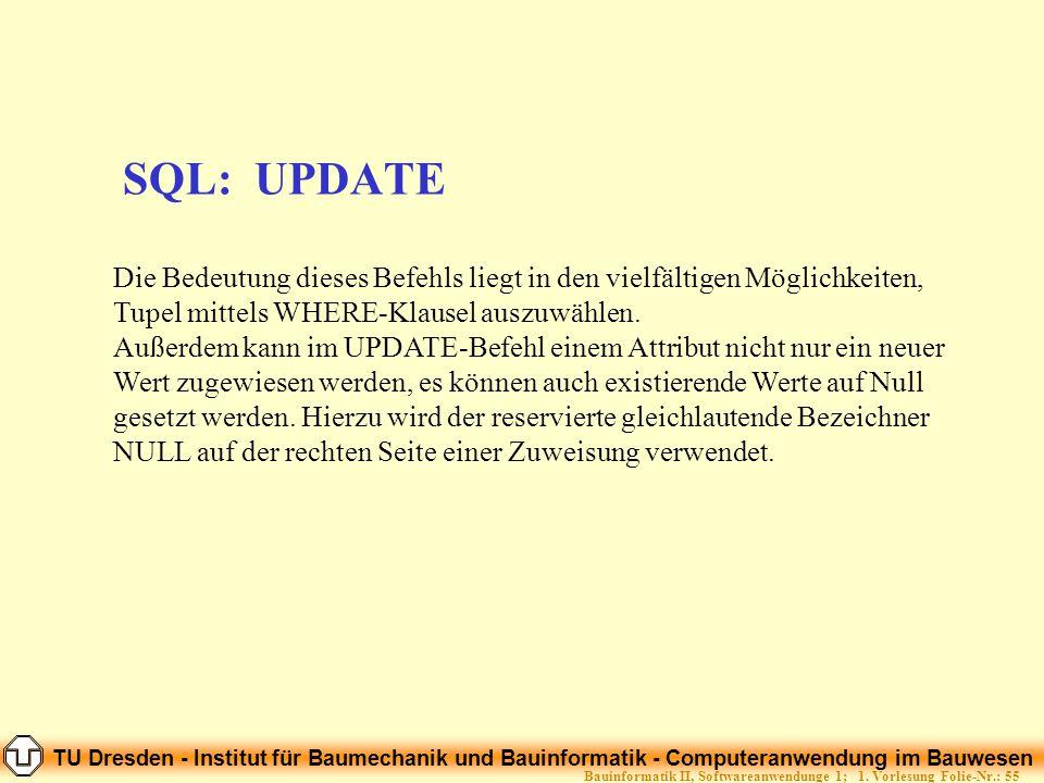 TU Dresden - Institut für Baumechanik und Bauinformatik - Computeranwendung im Bauwesen Folie-Nr.: 55Bauinformatik II, Softwareanwendunge 1; 1. Vorles