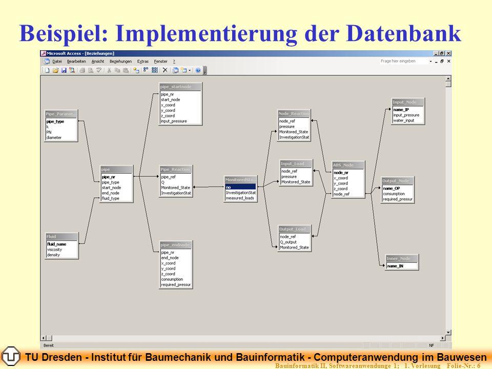 TU Dresden - Institut für Baumechanik und Bauinformatik - Computeranwendung im Bauwesen Folie-Nr.: 57Bauinformatik II, Softwareanwendunge 1; 1.