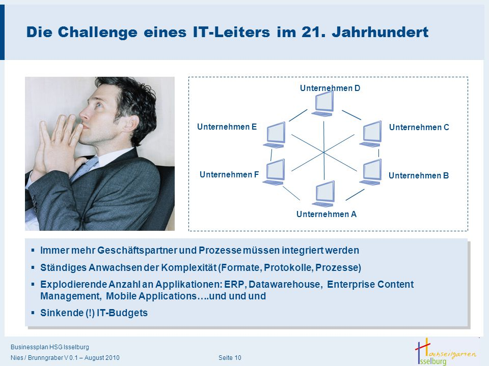 Businessplan HSG Isselburg Nies / Brunngraber V 0.1 – August 2010 Seite 10 Die Challenge eines IT-Leiters im 21. Jahrhundert  Immer mehr Geschäftspar