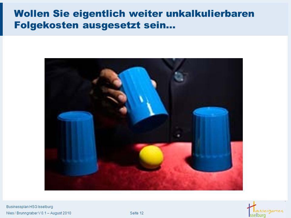 Businessplan HSG Isselburg Nies / Brunngraber V 0.1 – August 2010 Seite 12 Wollen Sie eigentlich weiter unkalkulierbaren Folgekosten ausgesetzt sein…