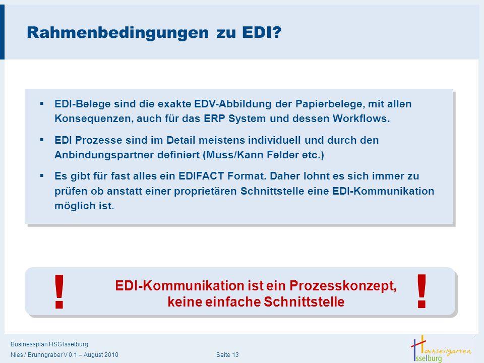Businessplan HSG Isselburg Nies / Brunngraber V 0.1 – August 2010 Seite 13 Rahmenbedingungen zu EDI? EDI-Kommunikation ist ein Prozesskonzept, keine e