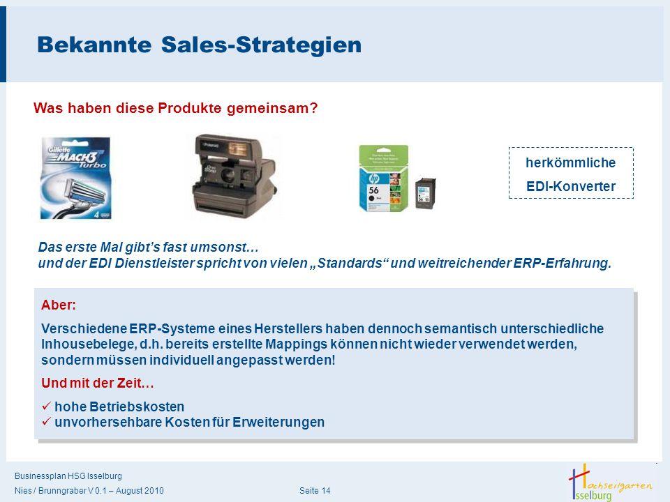 Businessplan HSG Isselburg Nies / Brunngraber V 0.1 – August 2010 Seite 14 Bekannte Sales-Strategien Was haben diese Produkte gemeinsam? herkömmliche
