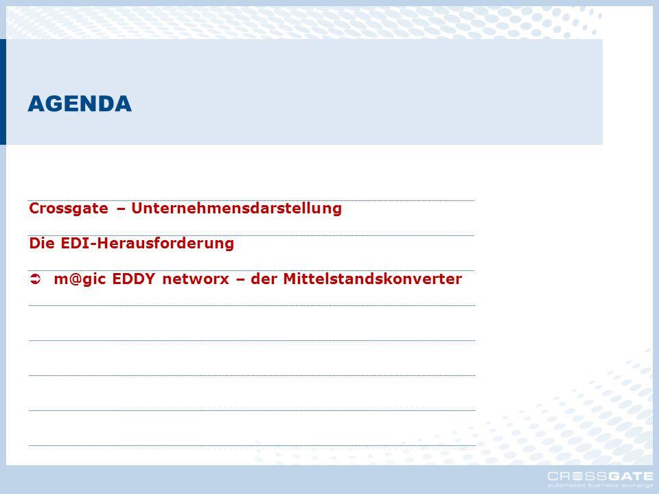 AGENDA Crossgate – Unternehmensdarstellung Die EDI-Herausforderung  m@gic EDDY networx – der Mittelstandskonverter