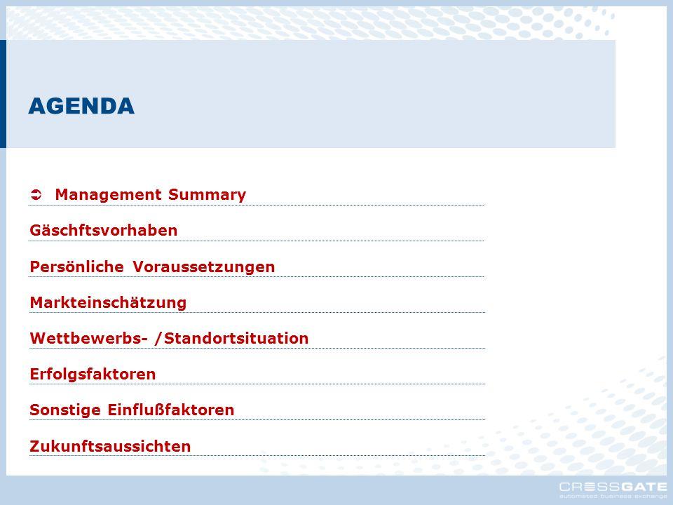 AGENDA  Management Summary Gäschftsvorhaben Persönliche Voraussetzungen Markteinschätzung Wettbewerbs- /Standortsituation Erfolgsfaktoren Sonstige Ei