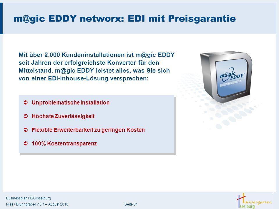 Businessplan HSG Isselburg Nies / Brunngraber V 0.1 – August 2010 Seite 31 m@gic EDDY networx: EDI mit Preisgarantie Mit über 2.000 Kundeninstallation